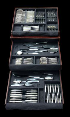 """Direct from Paris, The Birthplace of Art Deco, A Gorgeous Art Deco Sterling Silver Flatware Set, Includes 10 Serving Pieces and a Storage Chest by Renowned French Silversmith """"Ravinet D'Enfert"""", circa 1925 - MAGNIFICENT ! Silver Earrings Online, Sterling Silver Flatware, Flatware Set, Art Deco Design, French Art, French Antiques, Drawer Storage, Storage Chest, Pearl"""