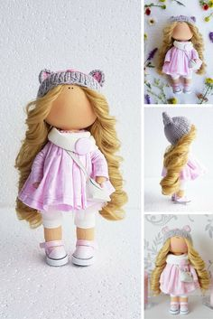 Textile doll Interior doll Handmade doll Love doll Tilda doll Rag blonde pink colors Soft doll Cloth doll Art doll by Master Tanya Evteeva