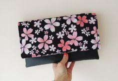 Floral clutch bag, spring summer bag, kawaii, Japanese cotton