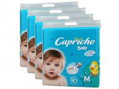 Kit de Fraldas Capricho Baby M 4 Pacotes - com 90 Unidades Camada Interna Extra Suave