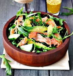Smoked Salmon Avocado and Rocket. Smoked Salmon Avocado and Rocket (Arugula) Salad with sesame seeds toppings - a mouthful of a title a mouthful of flavours! Avocado Recipes, Salmon Recipes, Healthy Recipes, Seafood Recipes, Arugula Recipes, Meat Recipes, Atkins Recipes, Cookbook Recipes, Think Food