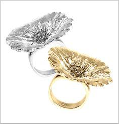 Golden Fingerprint Flower Ring