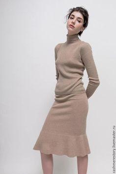 Кашемировый свитер женский Natural browm. Handmade. Однотонный