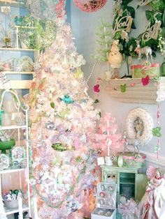 Pastel pink and green Christmas at my store.  www.violetcottage.com