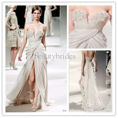 Wholesale Prom Dresses - Buy 2014 Elie Saab Couture High Fashion Light Grey Chiffon Prom Dress Sweetheart Beads Front Slit Long Sexy Evening Gowns 1104B, $146.0 | DHgate