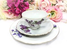 4 Sets Purple Lilac Tea Trios Purple Lilac Teaset Lilac