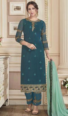 Mehendi Sangeet Blue color Salwar Kameez in Faux Georgette fabric with Straight Embroidered, Resham, Stone, Thread, Zari work Pakistani Salwar Kameez, Shalwar Kameez, Salwar Suits, Churidar, Punjabi Suits, Anarkali, Indian Suits Online, Pakistani Suits Online, Indian Dresses