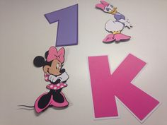 Set of 18 Minnie Mouse and Set of 18 Daisy Duck die cuts with the letter K and #1 by scrappinbjs. Explore more products on http://scrappinbjs.etsy.com