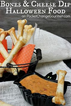 Fun Halloween Food Ideas: Bones and Cheese Dip. Add a little adventure to your next Halloween party, the kids will love this. Pin for later to your Halloween board.