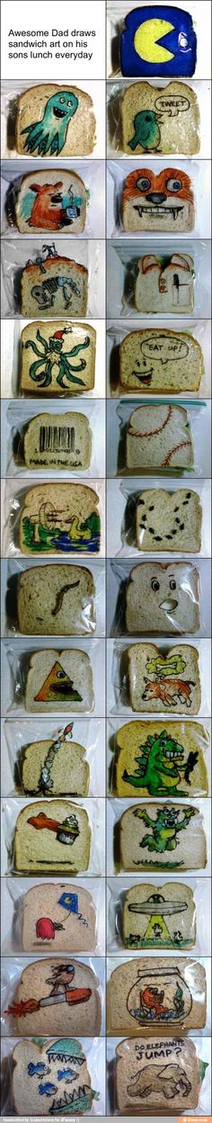 This dad draws on his son's lunch bag everyday... so cute!