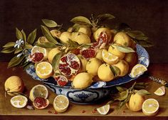 A Still Life Of A Wanli Kraak Porcelain Bowl Of Citrus Fruit And Pomegranates On A Wooden Table, Oil by Gerard Van Honthorst (Gerrit Van Honthorst) Netherlands) Dutch Still Life, Still Life Art, Food Painting, Oranges And Lemons, Dutch Painters, Painting Still Life, Oil Painting Reproductions, Banquet, Traditional Art