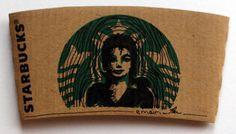 Michael Jackson drawn on a @Starbucks drink holder. (Ahmed Al Emairi)