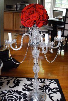 Crystal Candelabra Wedding Centerpieces | ... Candelabra Garland Wedding Centerpiece made with crystals, metal, gold