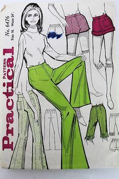 Vintage Practical Pattern/ 6476/ Trousers Sewing Pattern/