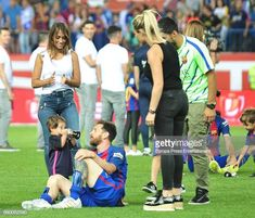 Leo Messi , Antonella Roccuzzo , their son Mateo Messi and Sofia Balbi attend the Copa del Rey Final match between FC Barcelona and Alaves FC at Vicente Calderon Stadium on May 2017 in Madrid,. Get premium, high resolution news photos at Getty Images Fc Barcelona, Messi 2017, Antonella Roccuzzo, Perfect Together, Football Wallpaper, Lionel Messi, Football Players, Couple Goals, Christians