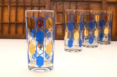 Vintage Mid Century Geometric Blue and Gold by VintageRescuer, $38.00
