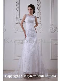 Satin and Lace Bateau Neckline Sweep Train A-Line Wedding Dress with Embroidered