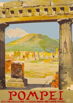 Vintage Italian Posters, Vintage Travel Posters, Pompeii And Herculaneum, Pompeii Italy, A4 Poster, Poster Prints, Poster Wall, Art Prints, Travel Posters