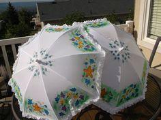 Ruffled Wedding Umbrellas Hand painted and Custom Designed for Flower girls