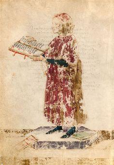 Dante Alighieri in Francesco Petrarca, I Trionfi ms. Strozzi 174, 4v, Biblioteca Laurenziana di Firenze