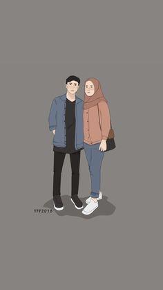 Couple Cartoon, Girl Cartoon, Cartoon Art, Wallpaper Wa, Emoji Wallpaper, Couple Drawings, Easy Drawings, Hijab Drawing, Anime Muslim