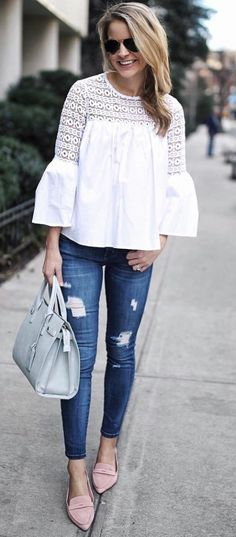 b8adb216784 30+ Beautiful Spring Outfits You Need To Get Right Now  springoutfits White Top  Outfit