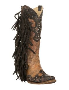 Corral Women's Tan with Chocolate Accents and Studs with Side Fringe Western Snip Toe Boots | Cavender's