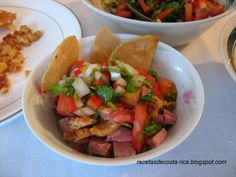 Best Costa Rican dish (or at least one of the many)! This is usually on the menu at neighborhood bars & some resturaunts.  Cocina Costarricense: Chifrijo