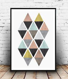 Geometric decor Watercolor print nordic design by Wallzilla
