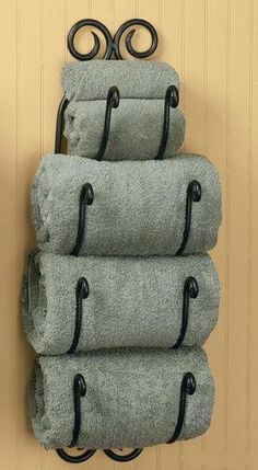 Tuscan Bath Towel Rack Bathroom  Such a good idea if you don't have a linen closet!
