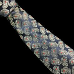 WEMBLEY Mens Tie Dark Satin Blue with Light Blue Red Paisleys Foulard