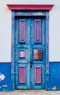 Colorful blue and pink doors, Antioquia, Colombia
