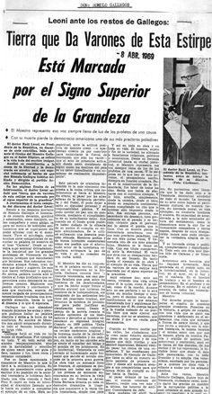 Discurso de Leoni en el sepelio de Rómulo Gallegos. Publicado el 8 de abril de 1969.