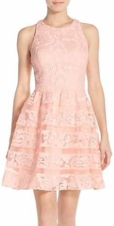 Organza-Insert Racer-Back Lace Dress in Pink