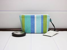 Mini Makeup Pouch- Aqua Cosmetic Bag - Stripe Makeup Bag - Zipper Cosmetic Bag - Knitting Notions - Textured Stripe - Gift for Wife by TalfourdJones on Etsy