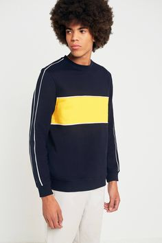 Shop UO Navy and Yellow Piped Sweatshirt at Urban Outfitters today. We  carry all the 33ab2ec9af81