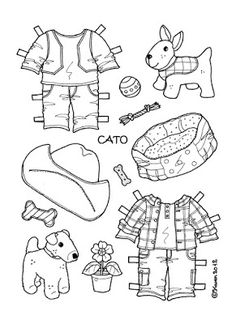 Karen`s Paper Dolls: Cato 1-2 Paper Doll to Print and Colour. Cato 1-2 påklædningsdukke til at printe og farvelægge.
