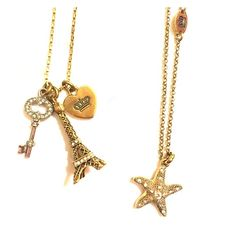 """Shop Women's Juicy Couture Gold Silver size OS Necklaces at a discounted price at Poshmark. Description: 1. Charms: a logo-embossed key, a crown-stamped heart, and a glitter-detailed Eiffel Tower 2. Pave starfish necklace Approx. chain length: 16"""" with 2"""" extender, lobster closure. Sold by mddodge3. Fast delivery, full service customer support."""