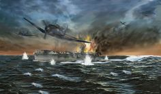 Final Battle at Midway While preparing to launch a third strike, Hiryū was attacked at 5:03 pm by 13 SBD Dauntless dive bombers from the Enterprise and hit with four 1000 lb (453.6 kg) bombs, three on the forward flight deck and one on or near the forward elevator . The explosions started fires among the aircraft on the hangar deck. The forward half of the flight deck collapsed into the hangar bay while part of the elevator was hurled against the ship's bridge.