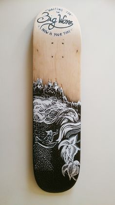 """""""The Big Wave"""" skateboard deck by Mat Disseny"""