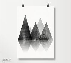 Geometric Mountains Print  Black and White Mountain by lakeandart