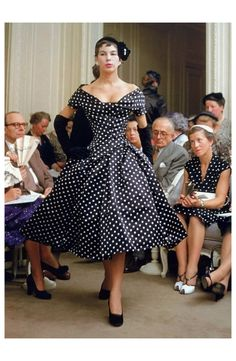 """Victoire presents Dior's dress called """"Porto Rico"""", Autumn: Winter collection H-line, 1954, photo by Mark Shaw, Paris"""