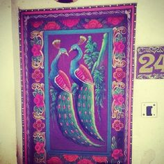 Colorfull magical painted door India  ~ peacock
