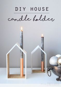 Edle Kerzenhäuser ❤ Deko aus Holz l Kerzenständer l DIY Holiday House Candle Holder via pink Little Notebook