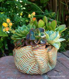 Sea green/golden brown folded pot