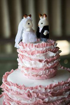 Sylvanian Families rabbit bride and groom wedding cake topper
