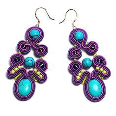 Soutache earrings handmade unique turquoise violet purple blue jewelry  for sale to buy gift sutasz boucles d'oreilles orecchini Ohrringe by ForQueen on Etsy