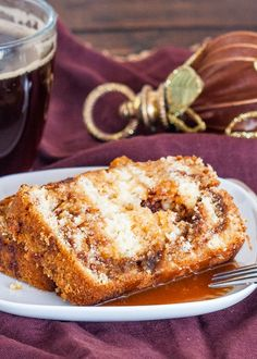 Delicious, sweet Coffee Cake Bread drizzled with caramel sauce. Picture this. It's Sunday morning. A good cup of coffee and a slice of this coffee cake. Coffee Cake Loaf, Fresh Coffee Beans, Sweet Coffee, Coffee Roasting, Sweet Bread, Gourmet Recipes, Gourmet Foods, Bread Recipes, Fun Desserts