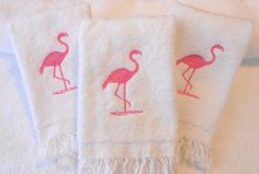 Flamingo Embroidered Towels Three Bathroom Or by SewBeautifulbyDC
