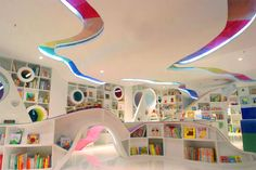 This is a childrens bookstore in japan - love the colours, contours.
